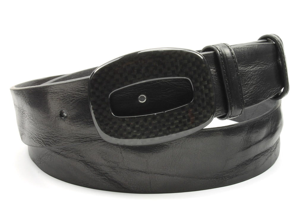 Vintage Feel Black Leather Carbon Fibre Hollow Rectangle Belt