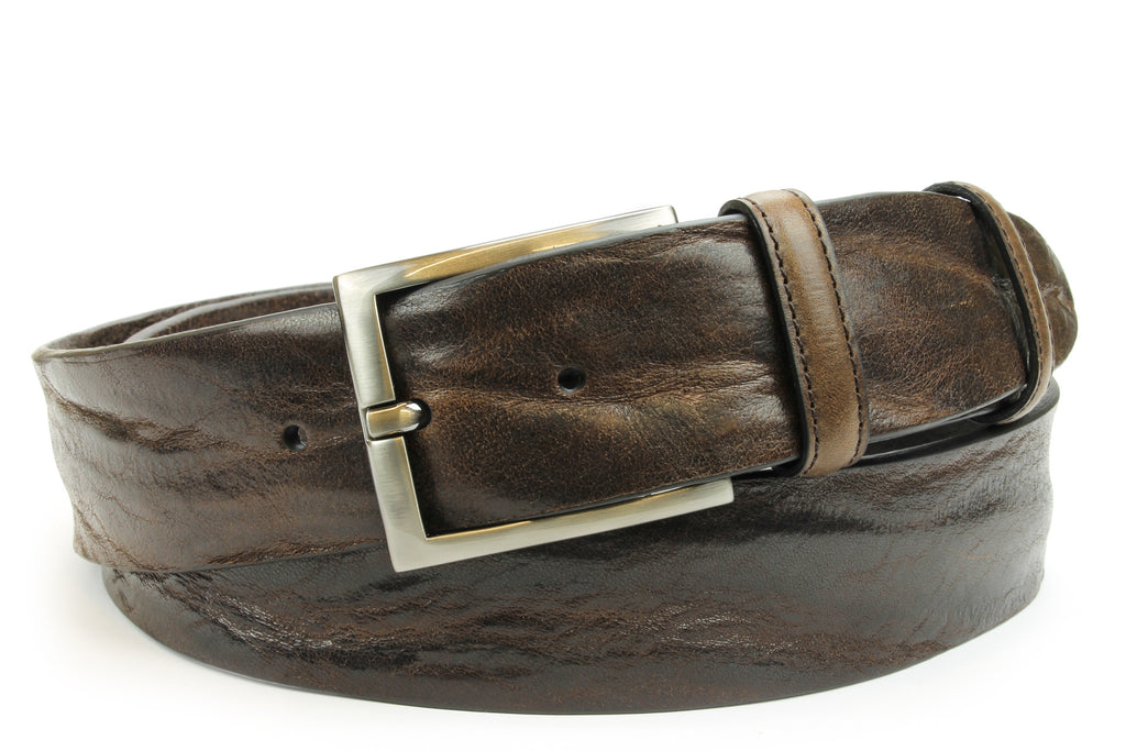 Dark Brown Vintage Feel Satin Silver Sleek Prong Belt