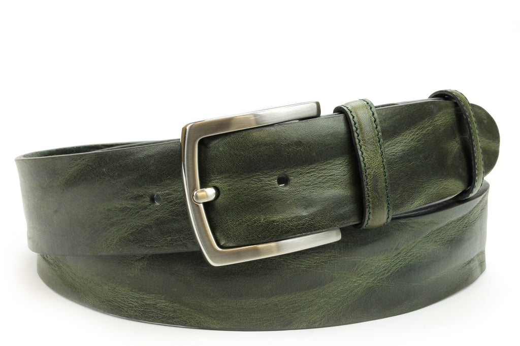 Forest Green Vintage Feel Satin Silver Belt
