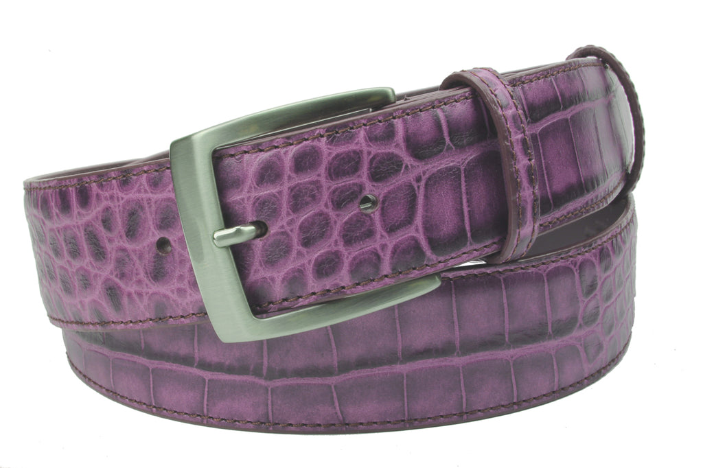 Grape Tone Mock Croc Effect Belt