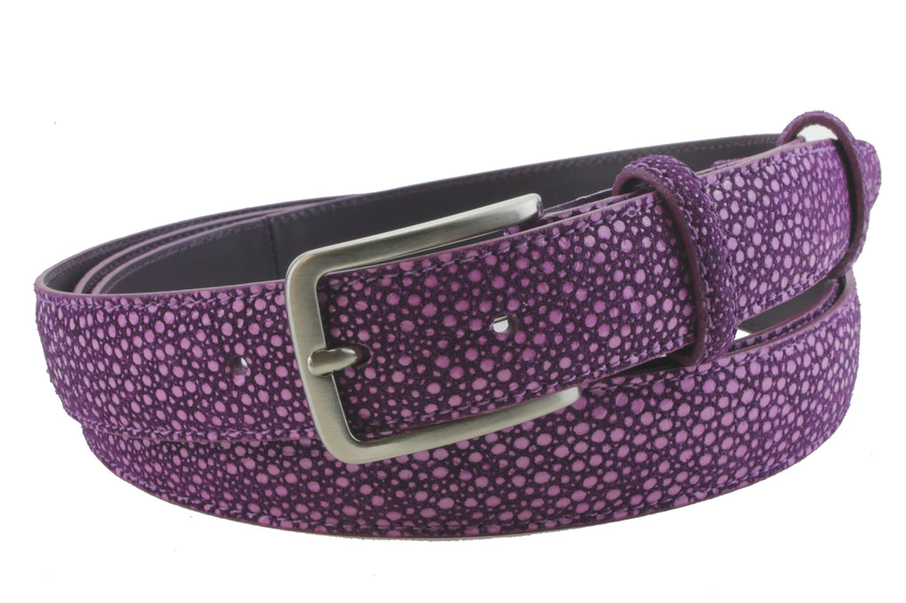 Narrow Mock Stingray Texture Violet Belt