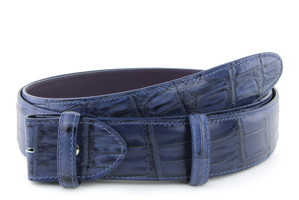 Navy Mock croc tail belt strap - Longer Length