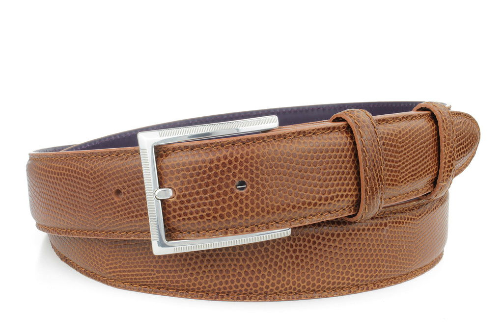 Mid Tan mock lizard belt with etched buckle