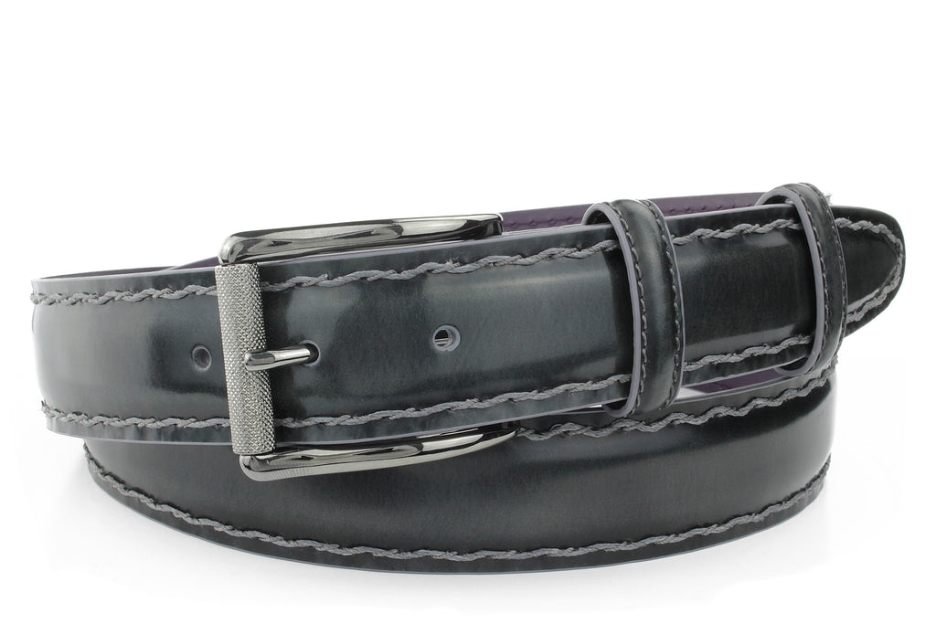Grey Leather Belt For Men With Chainlink Hand Stitching