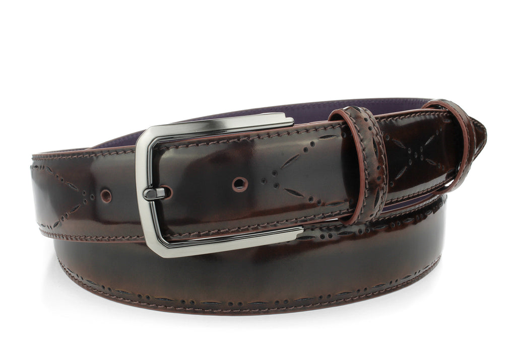 Crème brulee toned perforated cordovan belt