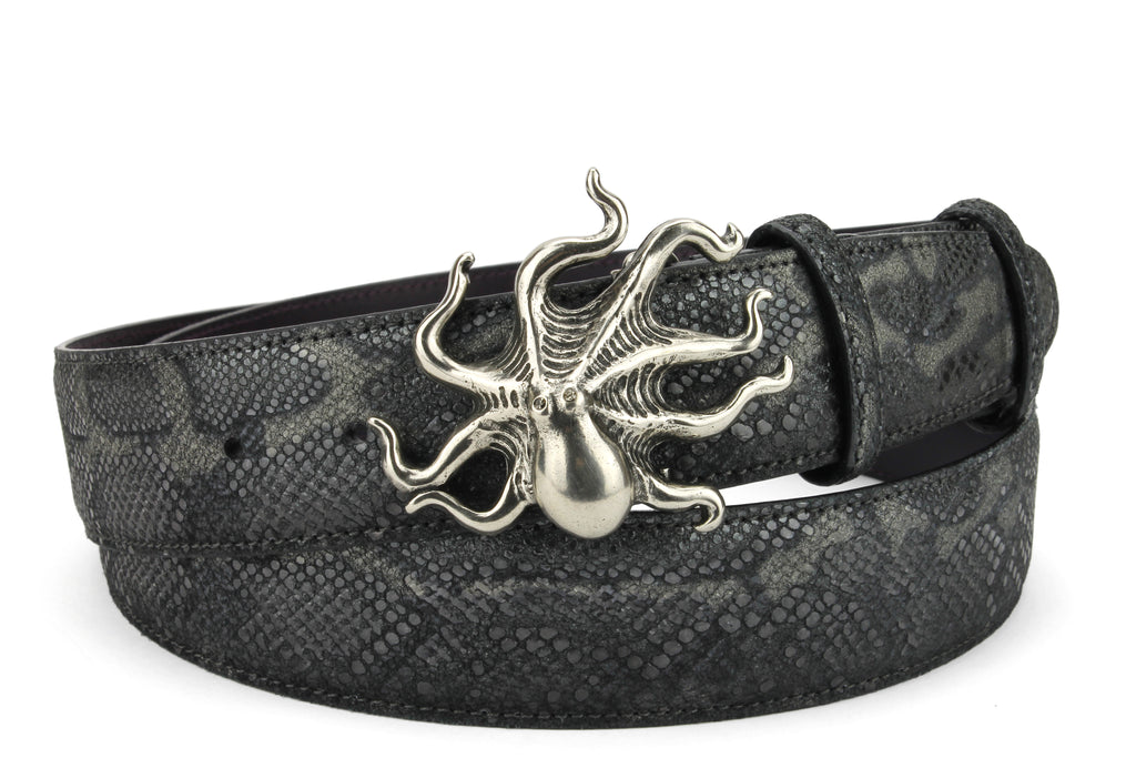 Gothic Metallic Python Effect Octopus Belt