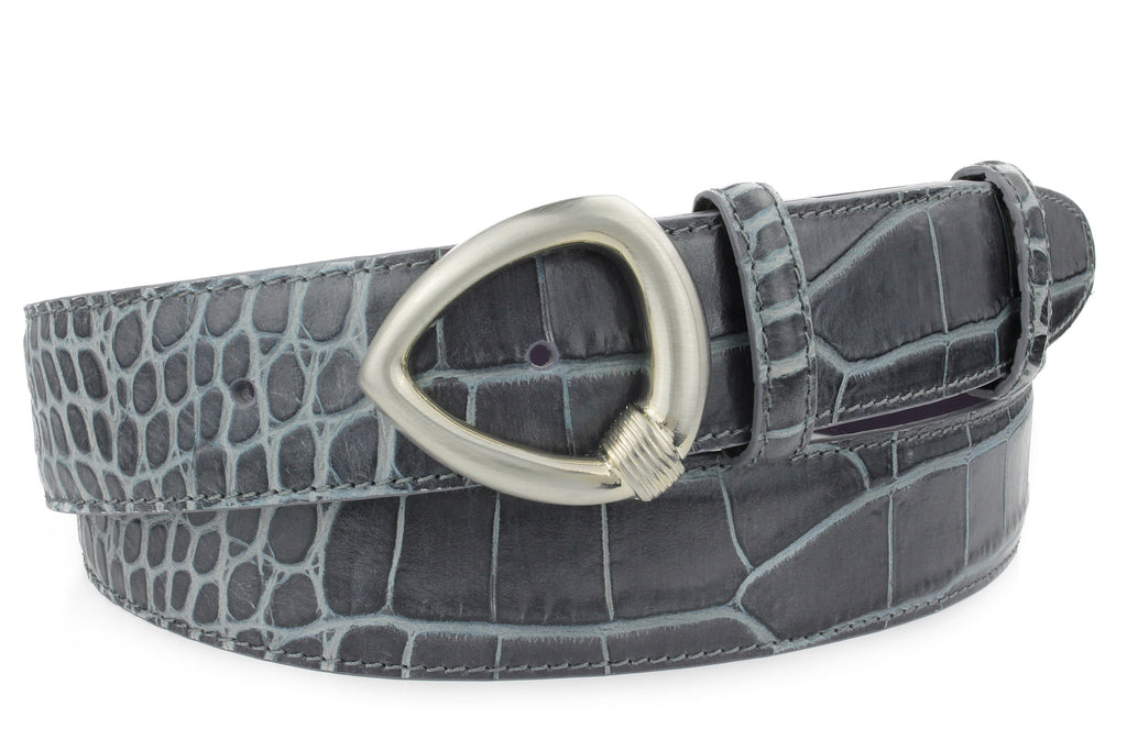 Grey mock crocodile leather belt with a triangular satin silver buckle.