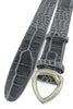 Grey mock crocodile leather belt with a triangular satin silver buckle