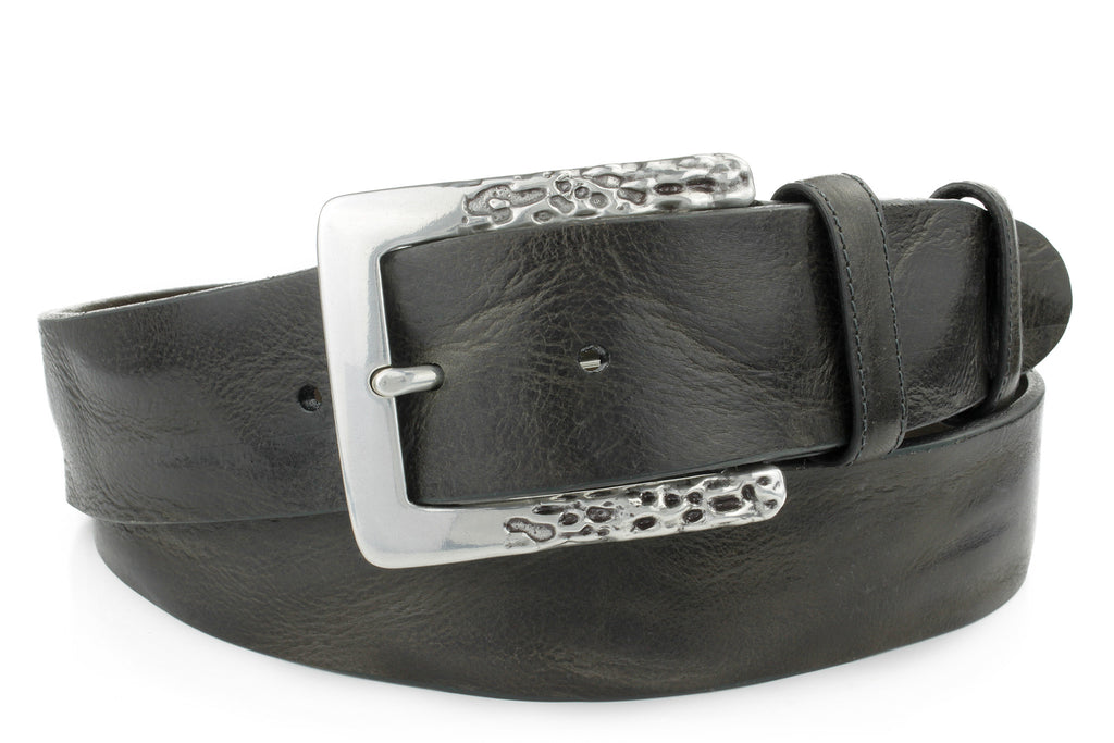 Grey (Almost Black) Leather Belt For Men With A Sleek Silver Buckle