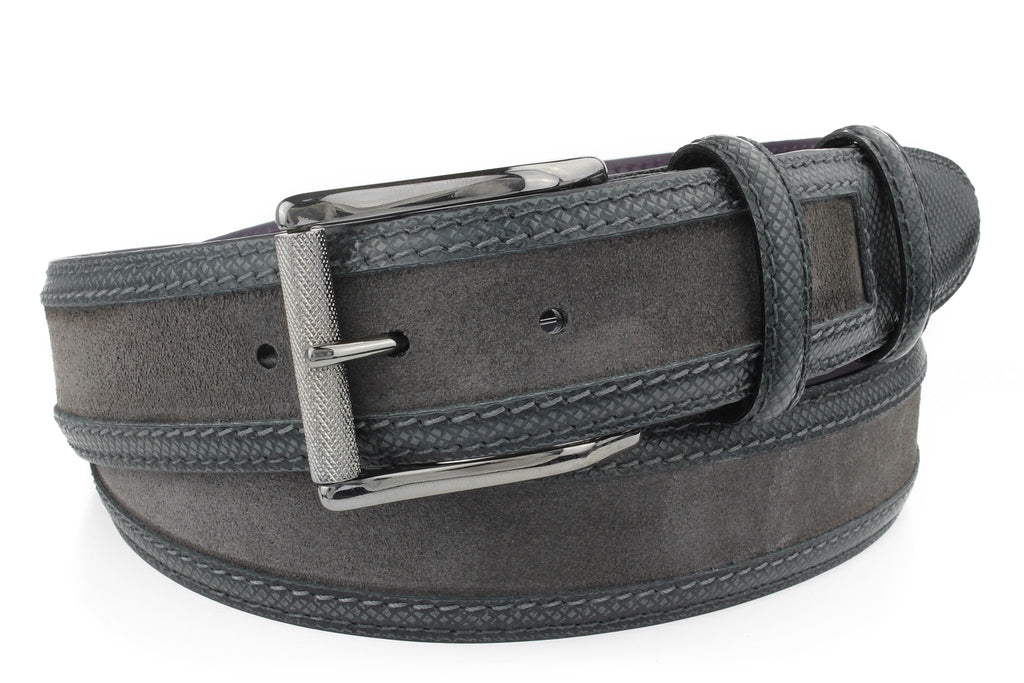 Men's Grey Suede and Leather Mix Belt With A Gunmetal Roller Buckle