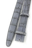 Steel grey narrow mock alligator tail belt strap