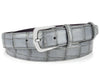 Steel grey narrow mock alligator tail belt