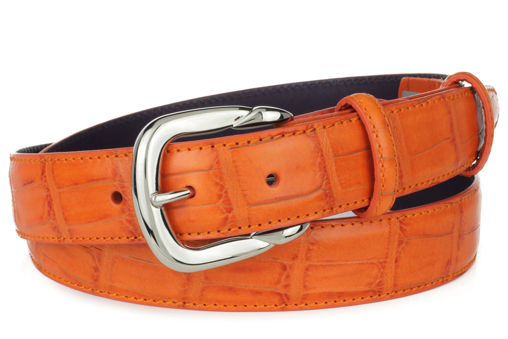 Zinnia orange mock croc tail narrow belt