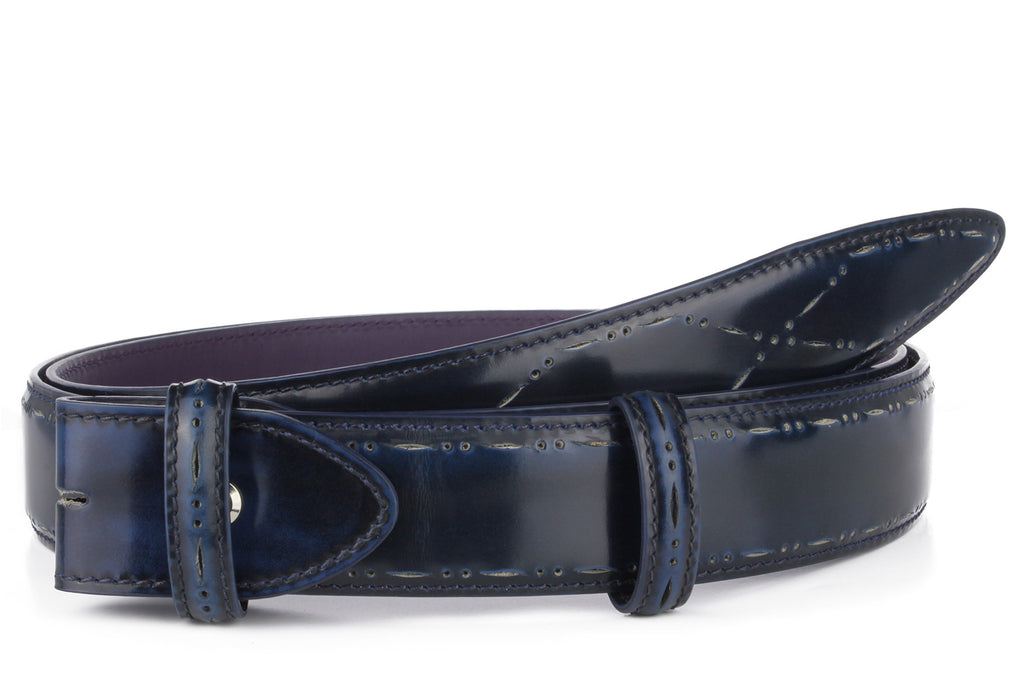 Electric blue perforated cordovan belt strap