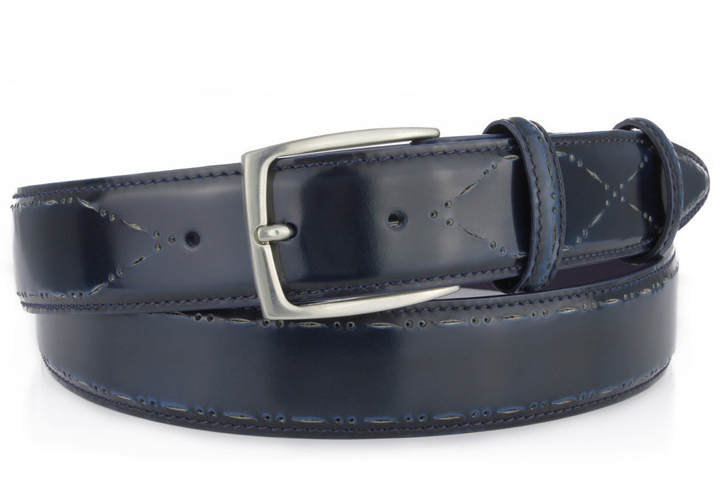 Electric blue perforated cordovan belt
