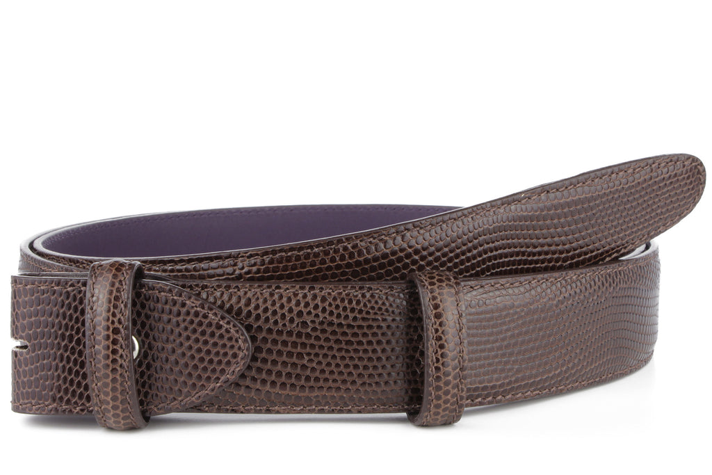 Mahogany mock iguana belt strap - Longer Length