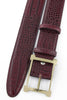 Burgundy mock crocodile gold buckle belt