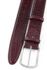 Burgundy mock crocodile silver buckle belt