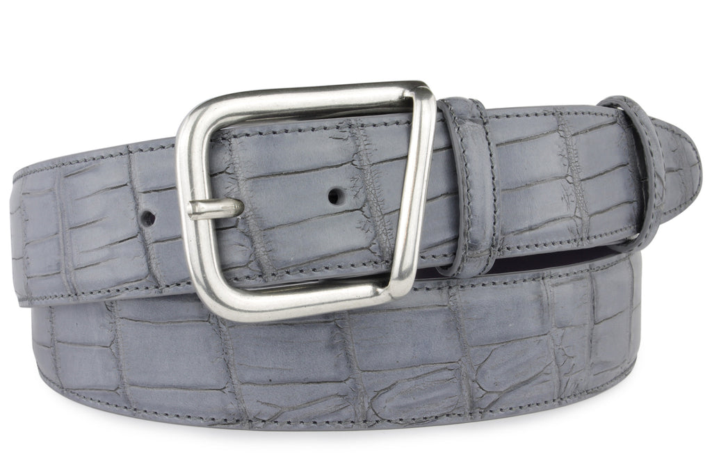 Grey Mock Croc Belt With Silver Pronged Buckle