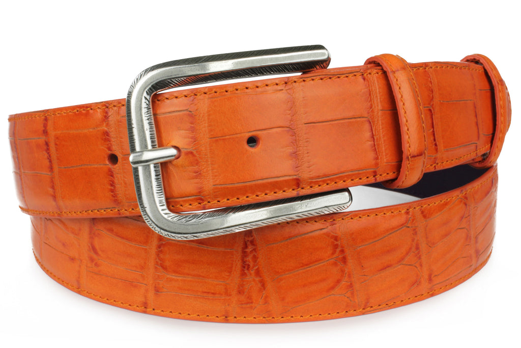 Zinnia orange mock croc tail prong belt