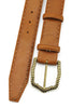Chaplin Tan Chain Stitch Burnished Ridge Buckle Belt