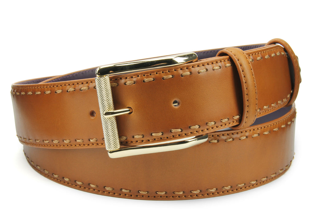 Chaplin Tan Chain Stitch Burnished Roller Buckle Belt