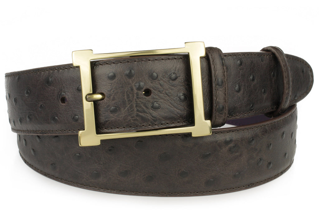 Dark choc mock ostrich quill belt with gold buckle