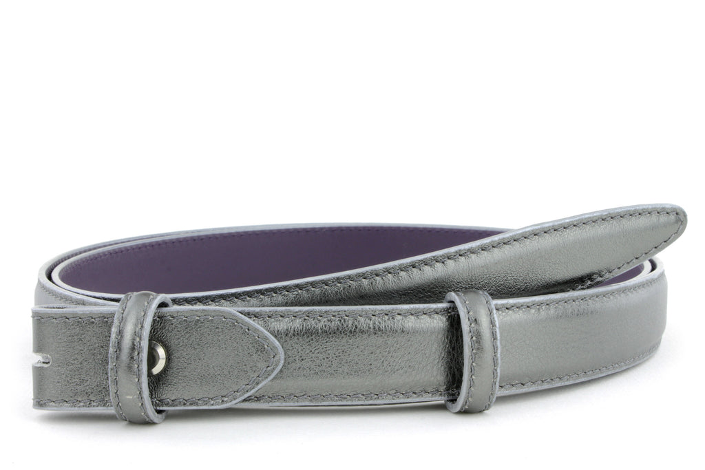 Anthracite metallic skinny belt strap