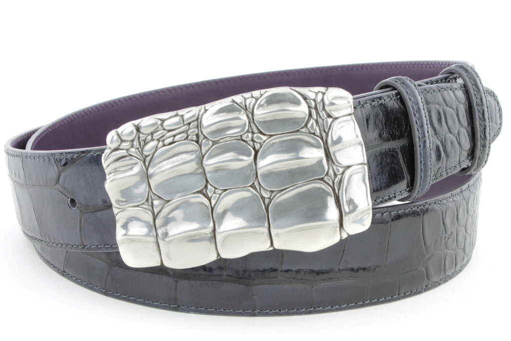 Lava Grey mock croc caiman belt