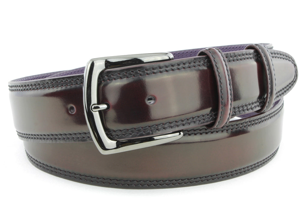 Burgundy cordovan welt edge belt