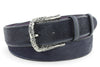 Navy blue pony hair engraved belt