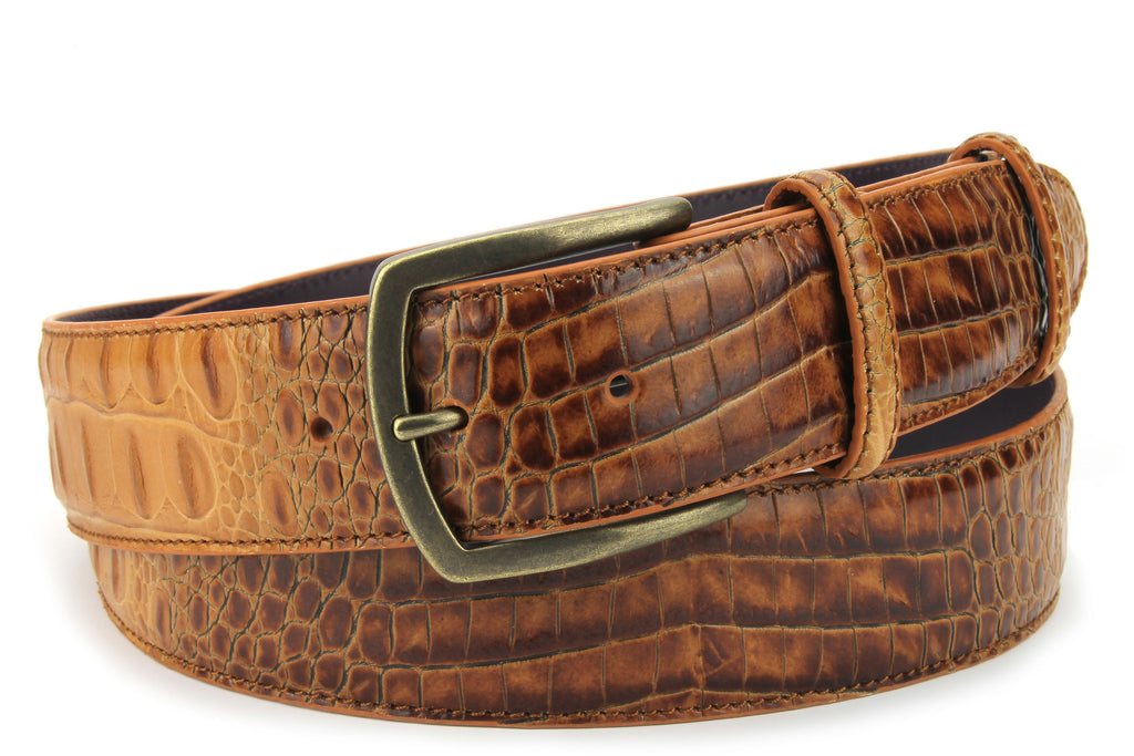 Brown Sugar Mock Caiman Burnished Belt