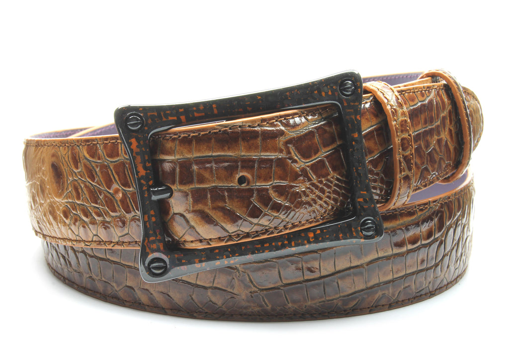 Brown Sugar Mock Caiman Carbon Fibre Screw Belt
