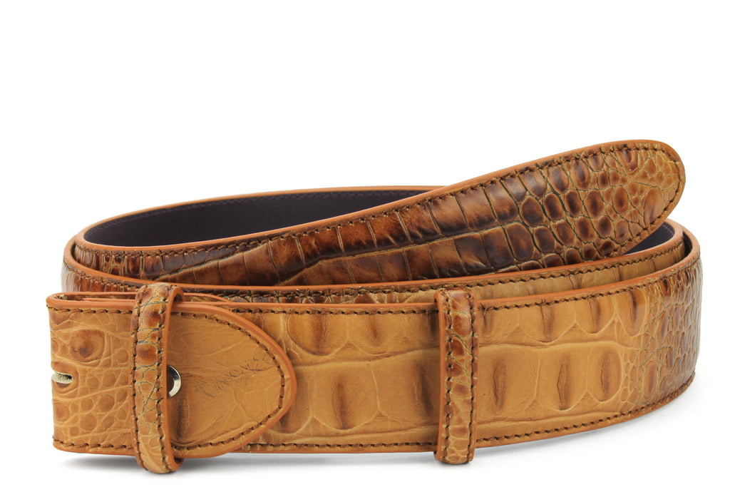 Brown sugar mock caiman belt strap