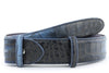 Dark Denim tonal mock croc belt strap