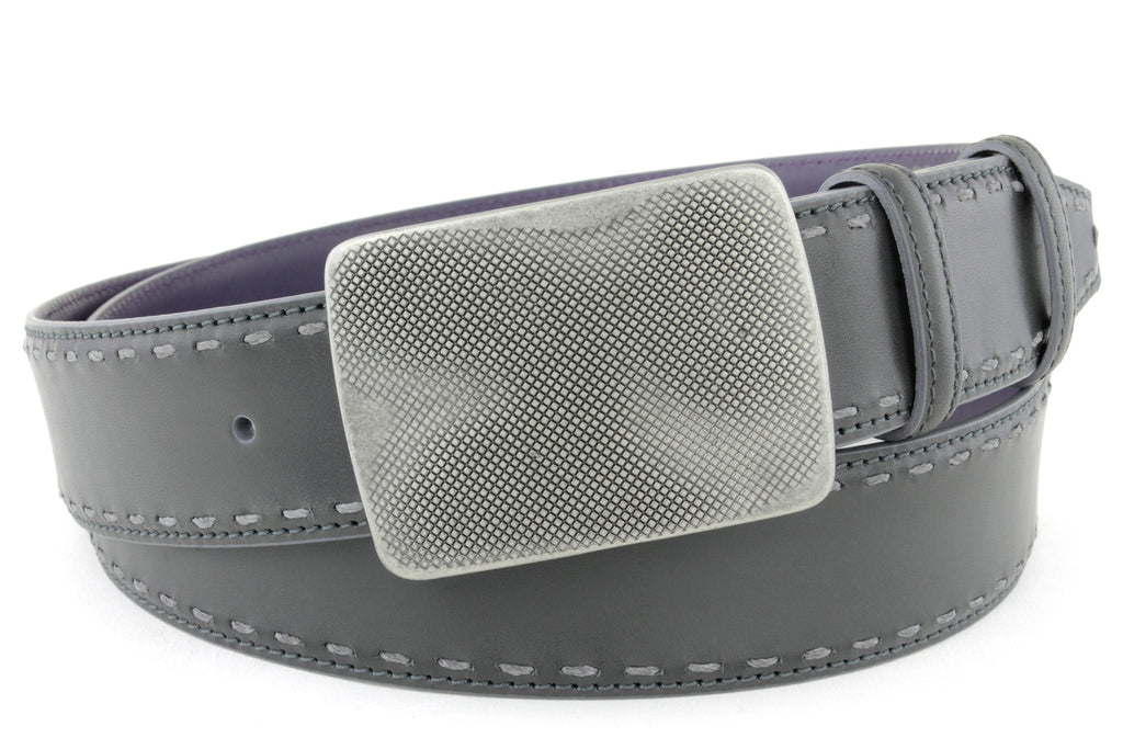 Asphalt chainstitch burnished dimple plate belt
