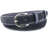 Navy blue narrow pony hair belt