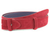 Pillar box red suede belt strap