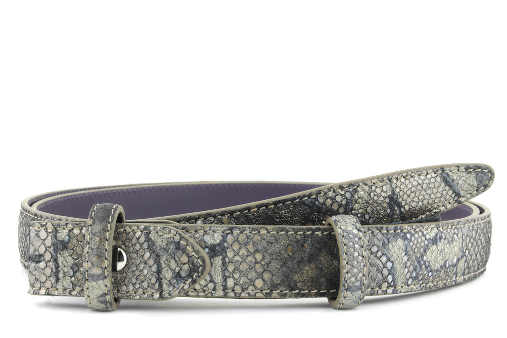 Skinny Twig Metallic Python effect belt strap