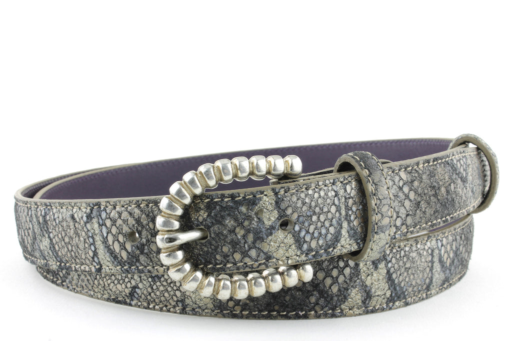 Skinny Twig Metallic Python effect belt