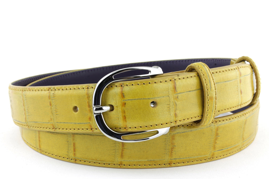 Sunflower narrow mock alligator belt