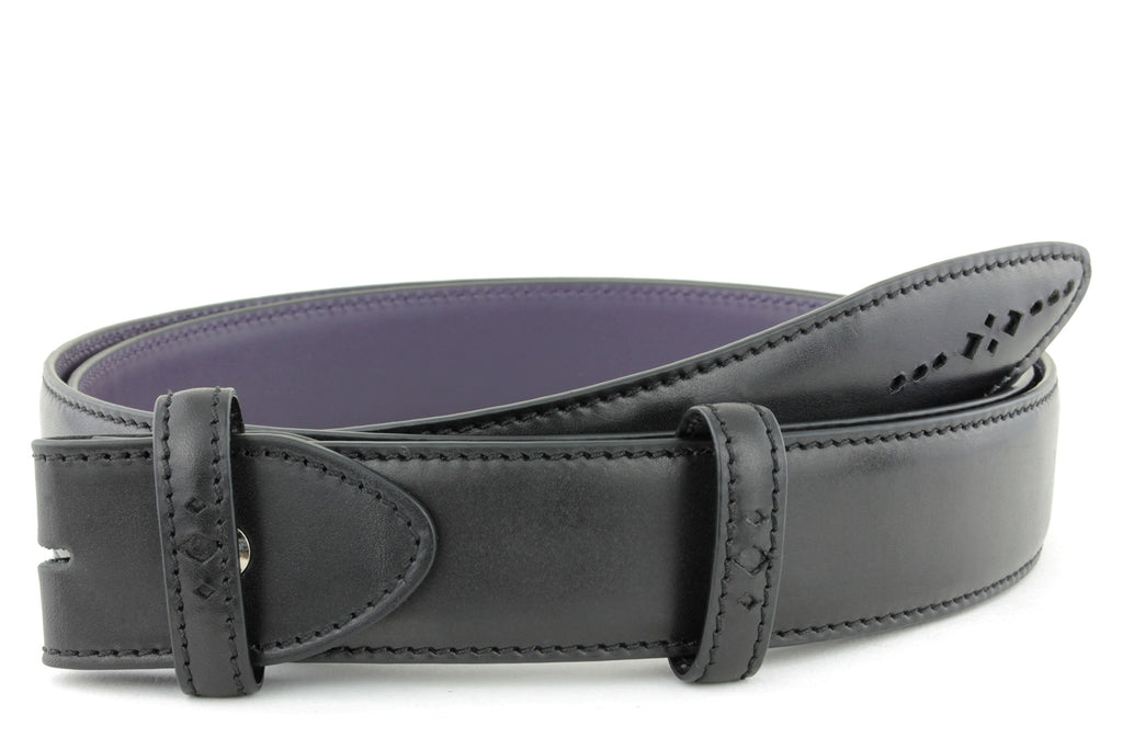 Black Eastwood diamond perforation belt strap