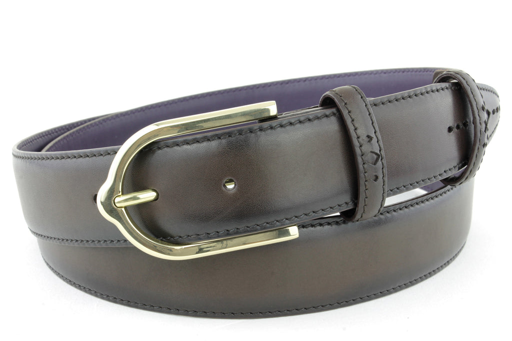 Dark choc Eastwood diamond perforation belt