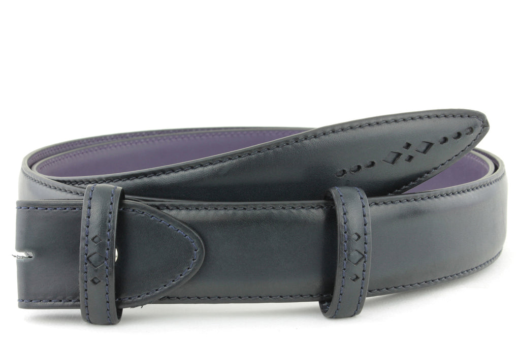 Navy Blue Eastwood diamond perforation belt strap