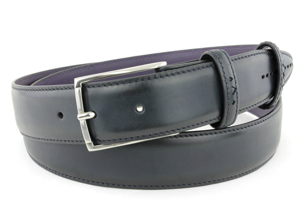 Navy Blue Eastwood diamond perforation belt