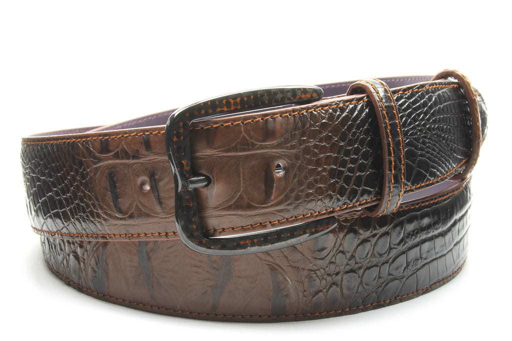 Crème Brulee Mock Caiman Carbon Fibre Twisted Prong Belt