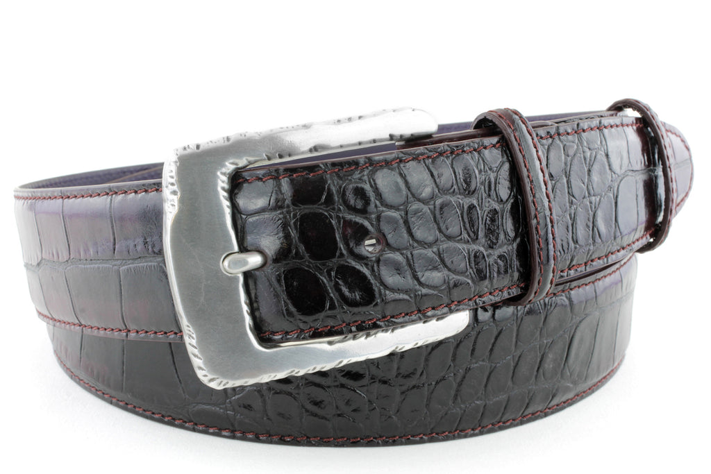 Pinot Noir two tone mock croc belt