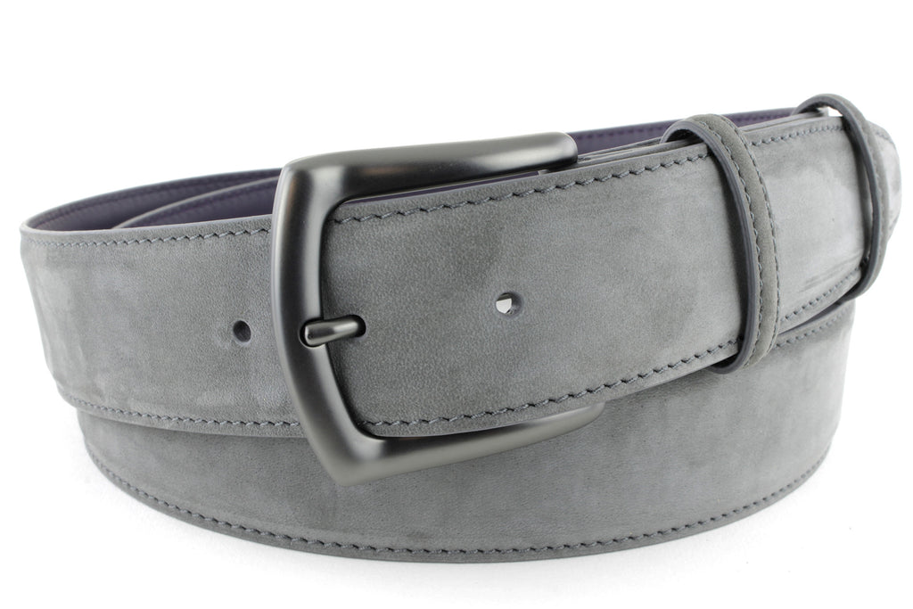 Matt gunmetal and slate grey nubuck belt