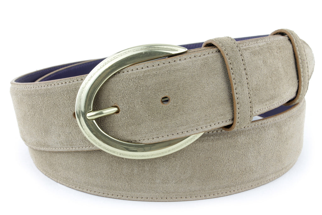 Antelope suede crescent prong belt