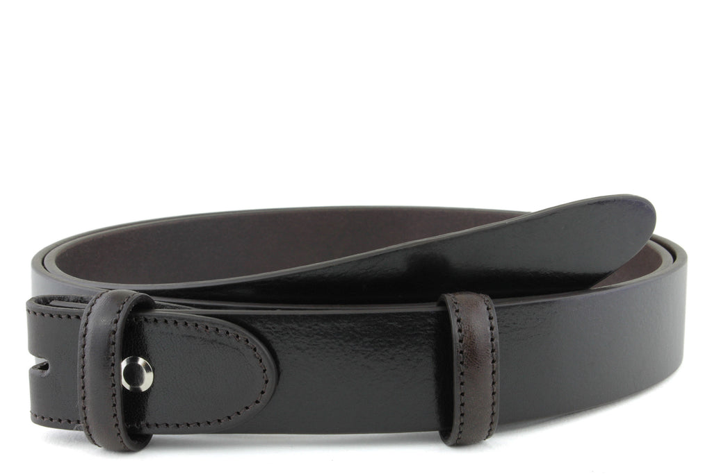 Smooth Bitter Choc Narrow Supple Belt Strap